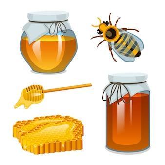 Miel en frasco, abeja y colmena, cuchara y panal, colmena y colmenar. producto agrícola natural. apicultura o jardín. salud, dulces orgánicos, ilustración de medicina, agricultura.