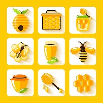 Miel gota peine abeja colmena y celular alimentos agricultura elementos planos conjunto aislado vector illustration