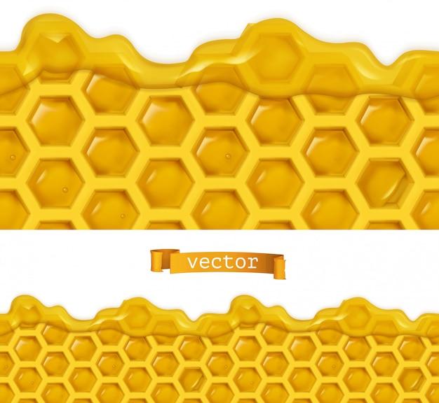 Miel y panales, patrón transparente de vector realista, ilustración de alimentos