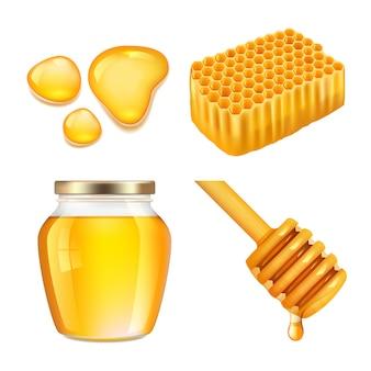 Miel. salpicaduras de miel dorada pegajosa y colección realista de fusión de tarros