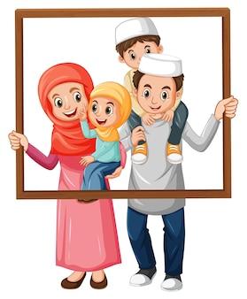 Miembro de la familia feliz con marco de fotos
