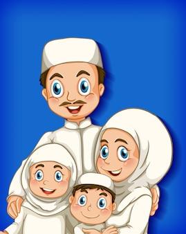 Miembro de la familia en el fondo degradado de color de personaje de dibujos animados