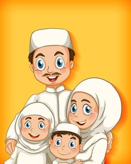 Miembro de la familia musulmana sobre fondo degradado de color de personaje de dibujos animados