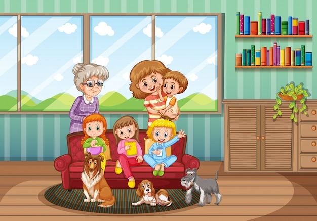 Miembro de la familia personaje de dibujos animados en la sala de estar