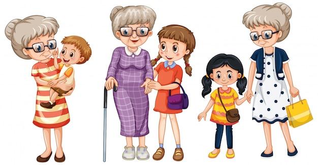 Miembro de la familia personaje de dibujos animados en varias posiciones