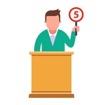 El miembro del jurado otorga una calificación de cinco. ilustración de personaje plano