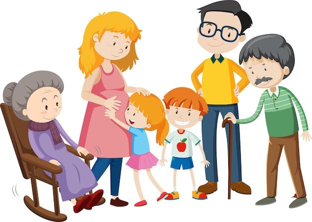 Miembro del personaje de dibujos animados de la familia en blanco