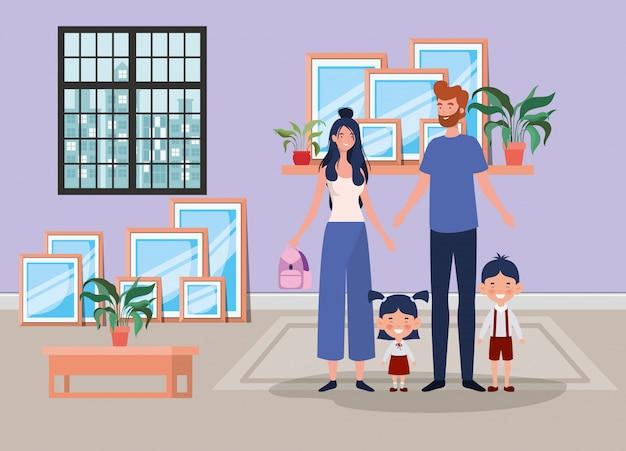 Miembros de la familia en casa lugar escena