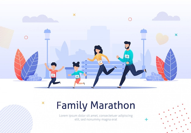 Miembros de la familia corriendo maratón juntos banner.