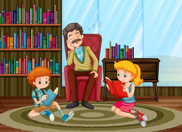 Miembros de la familia leyendo en la sala de estar