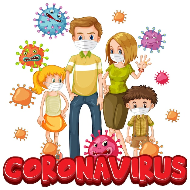 Miembros de la familia con máscara con fuente coronavirus