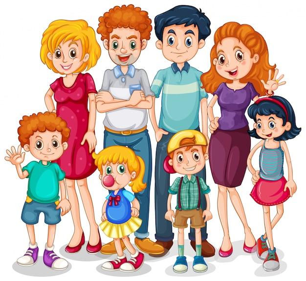 Miembros de la familia con padres e hijos sobre fondo blanco.