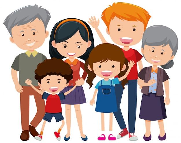 Miembros de la familia con personas mayores y niños sobre fondo blanco.
