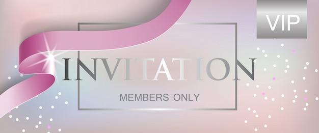 Miembros de invitación vip solo con letras con cinta
