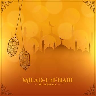 Milad un nabi festival islámico desea diseño de tarjeta