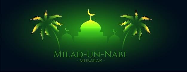 Milad un nabi mubarak brillante diseño de banner verde