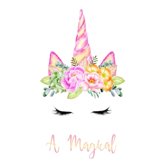 El milagro de un unicornio con cuernos de flores.