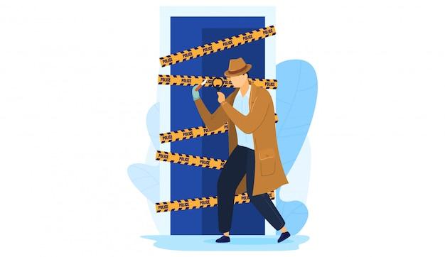 Milicia de trabajo de detective personaje masculino, hombre mantenga lupa escena de crimen de investigación aislado en blanco, ilustración de dibujos animados.