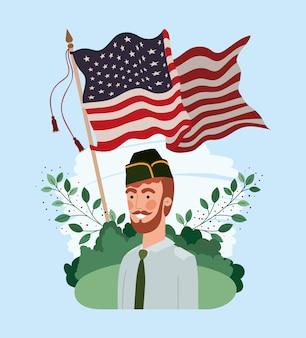 Militar con la bandera de estados unidos en el campo