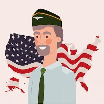 Militar con bandera y mapa de estados unidos