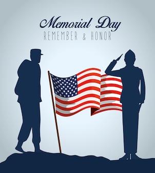 Militares patrióticos con bandera de ee. uu. al día conmemorativo