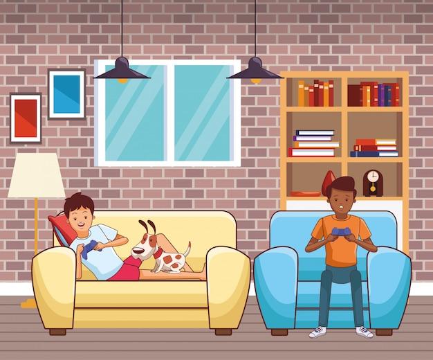 Millennials y dibujos animados de videojuegos en blanco y negro