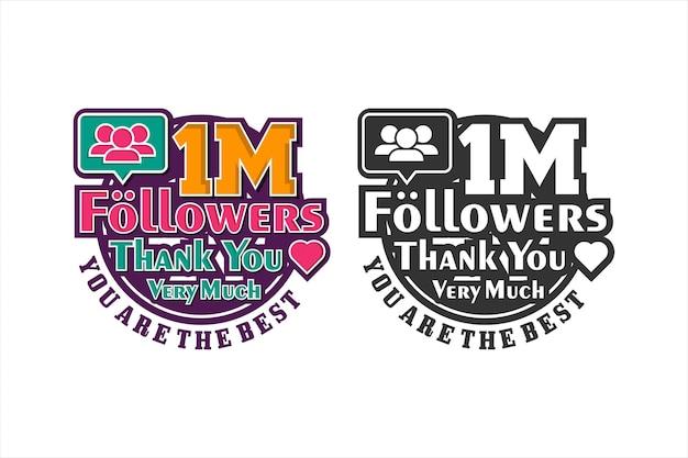 Un millón de seguidores gracias diseño premium