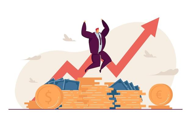 Millonario feliz por el crecimiento de los ingresos
