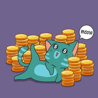 Millonario gato y monedas.