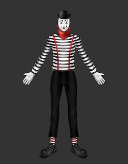 Mimo, actor de teatro, disfraz de artista de movimiento corporal con cuello alto a rayas