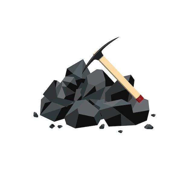 Mina de carbón con trozo de roca mineral negra y pico
