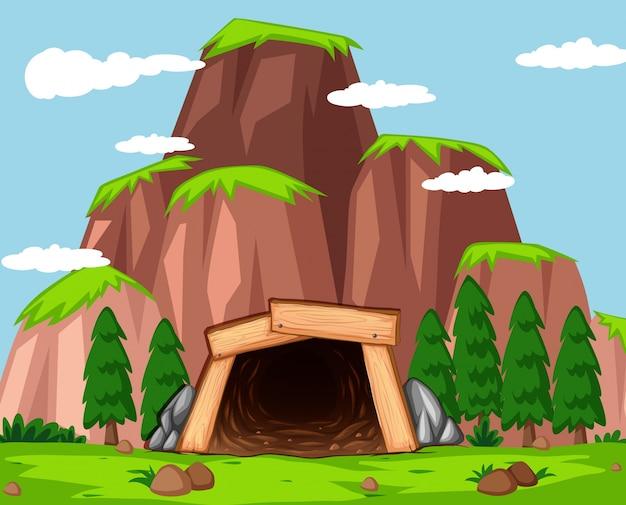 Mina de entrada a la ilustración de la montaña