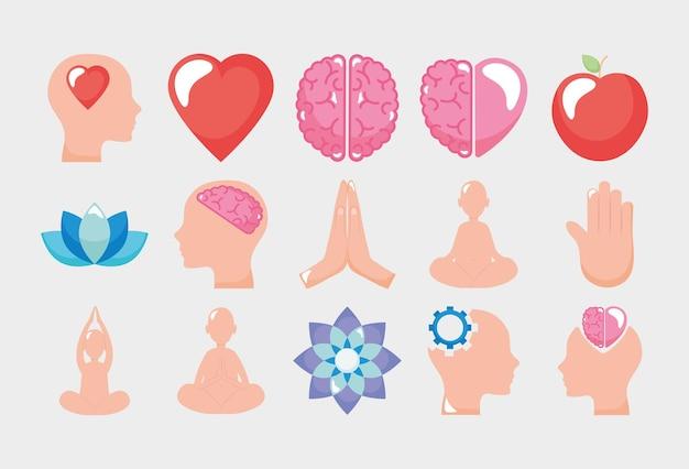 Mindfulness y conjunto de iconos humanos