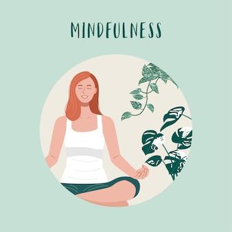 Mindfulness y estilo de vida saludable, mujer joven haciendo ejercicio de yoga en casa