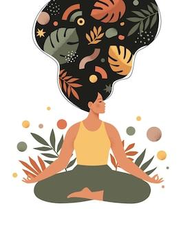 Mindfulness, meditación y yoga con ilustración de mujer