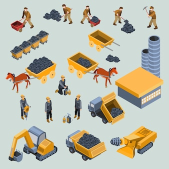 Mine, cantera, trabajadores, y, máquinas, isométrico, vector