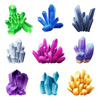Minerales de cristal realistas sobre fondo blanco.
