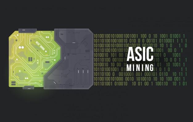 Minería asic. ilustración de vector de placa de circuito de alta tecnología. resumen futurista chip.