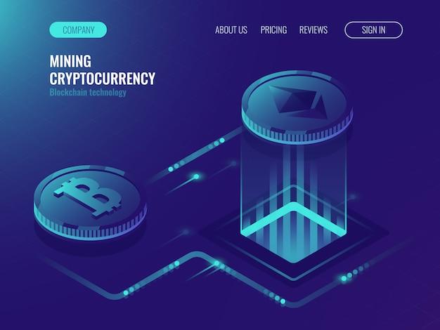 Minería bitcoin y ethereum crypto currency, sitio de granja de servidores de minería