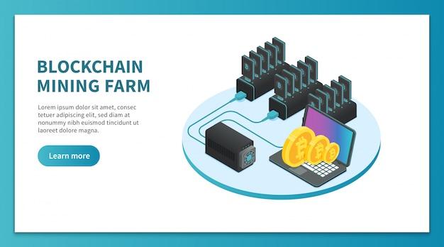 Minería de bitcoin isométrica. granja minera de criptomonedas, plataforma de mercado de bitcoin. página de inicio de crypto business