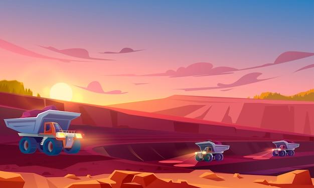 Minería de canteras con camiones industriales pesados