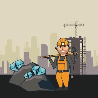Minería y caricatura del trabajador.