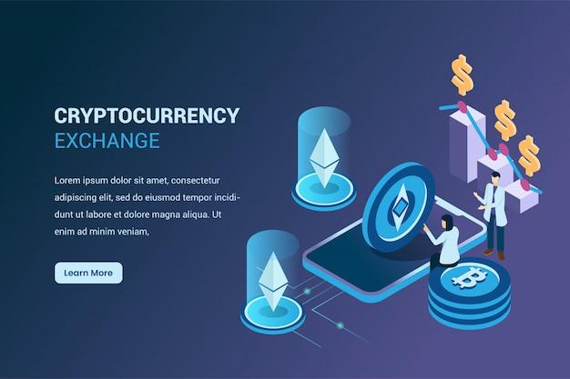 Minería ethereum crypto currency en isométrico 3d, bitcoin y cambio de criptomonedas
