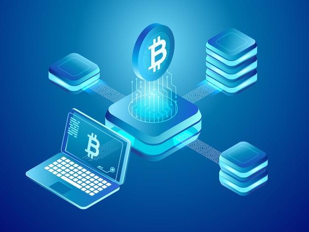 Minería de monedas de criptomonedas, red segura distribuida de bloques mineros conectados