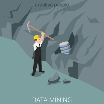 Minero de datos plano isométrico