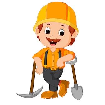 Mineros divertidos de dibujos animados