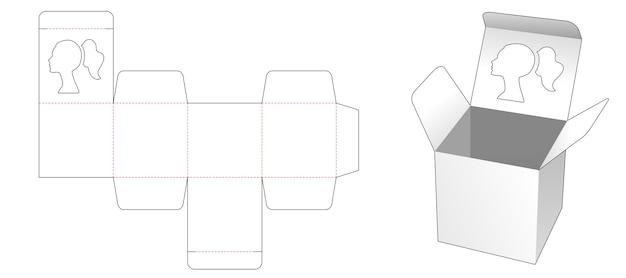 Mini caja cuadrada con plantilla troquelada de ventana en forma de retrato de mujer