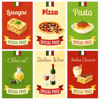 Mini cartel de la comida italiana