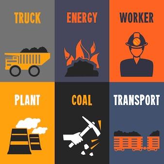 Mini carteles de la industria del carbón