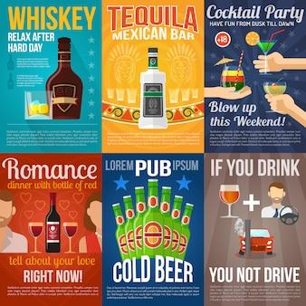 Mini conjunto de pósters de alcohol